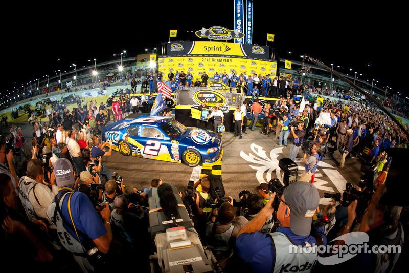 Championship victory lane: 2012 NASCAR Sprint Cup Series champion Brad Keselowski, Penske Racing Dodge enters victory lane