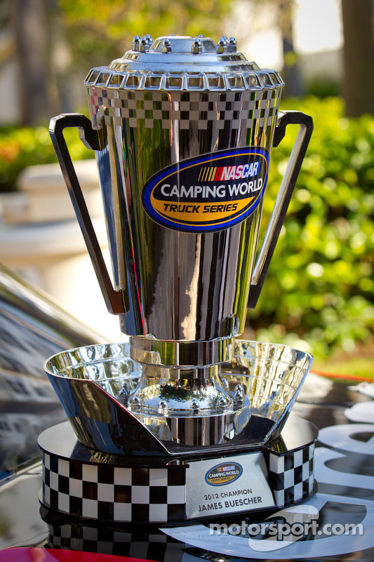 NASCAR Camping World Truck Series trophy for James Buescher, Turner Motorsports