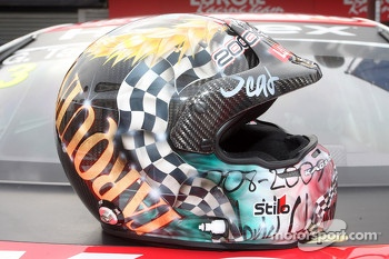The helmet of Gabriele Tarquini, SEAT Leon WTCC, Lukoil Racing Team for his last race with Seat