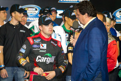 Championship victory lane: 2012 NASCAR Nationwide Series champion Ricky Stenhouse Jr., Roush Fenway Ford with NASCAR President Mike Helton