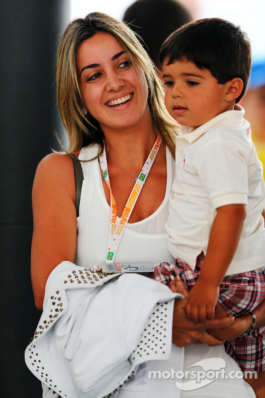 Rafaela Bassi, wife of Felipe Massa, Ferrari, with son Felipinho