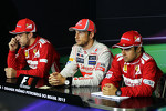 The FIA Press Conference: race winner Jenson Button, McLaren Mercedes, second place Fernando Alonso, Ferrari, third place Felipe Massa, Ferrari