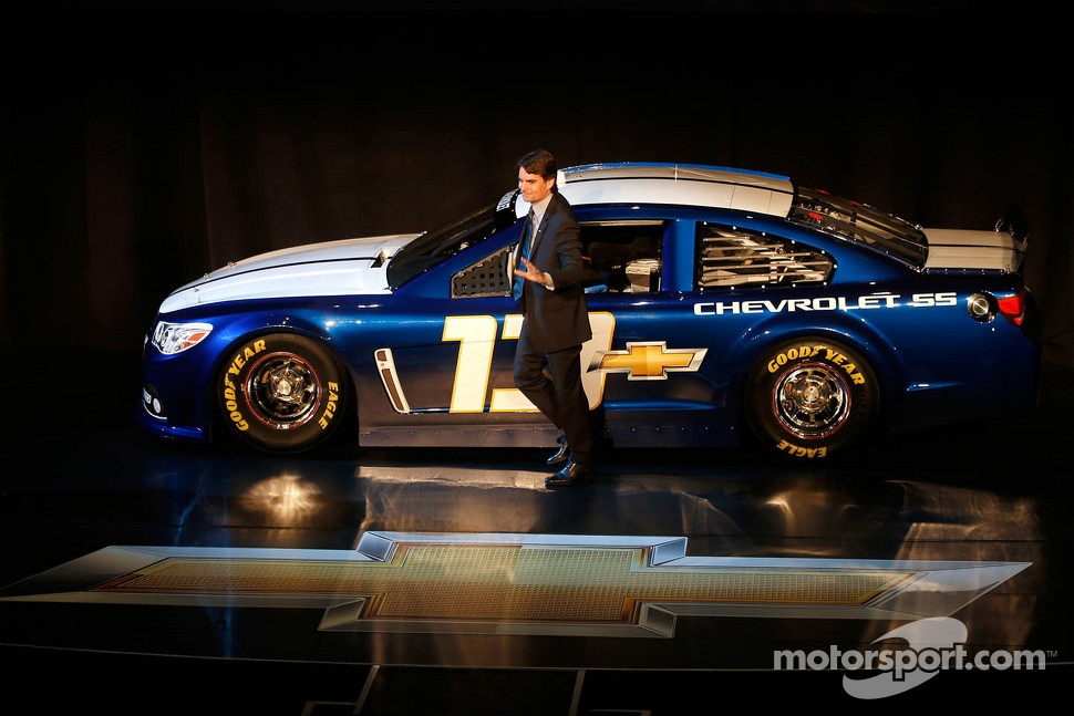Jeff Gordon with the 2013 Chevrolet SS Sprint Cup car