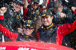 GS victory lane: class and overal winners Billy Johnson and Jack Roush Jr. celebrate