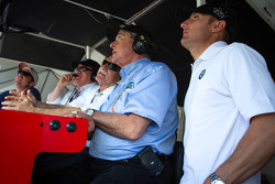 Jamie McMurray, Chip Ganassi, Felix Sabates and Joey Hand watch the end of the race