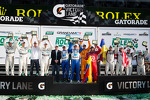 Class winners podium: GT winners Filipe Albuquerque, Oliver Jarvis, Edoardo Mortara, Dion von Moltke, DP winners Charlie Kimball, Juan Pablo Montoya, Scott Pruett, Memo Rojas, GX winners Nelson Canache, Shane Lewis, David Donohue, Jim Norman