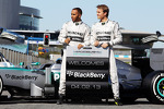 Lewis Hamilton, Mercedes AMG F1 and team mate with the new Mercedes AMG F1 W04 promote new sponsors Blackberry
