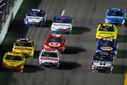 Joey Logano, Penske Racing Ford, Dale Earnhardt Jr., Hendrick Motorsports Chevrolet and Tony Stewart, Stewart-Haas Racing Chevrolet