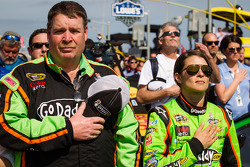 Danica Patrick, Stewart-Haas Racing Chevrolet with crew chief Tony Gibson during National Anthem