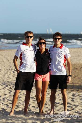 Max Chilton, Marussia F1 Team on the beach with Natalie Pinkham, Sky Sports Presenter and team mate Jules Bianchi, Marussia F1 Team