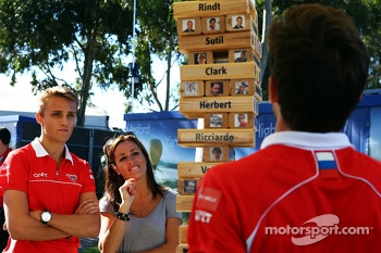 Jules Bianchi, Marussia F1 Team, team mate Max Chilton, Marussia F1 Team and Natalie Pinkham, Sky Sports Presenter play F1 driver Jenga
