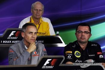 (L to R): Martin Whitmarsh, McLaren Chief Executive Officer and Eric Boullier, Lotus F1 Team Principal in the FIA Press Conference