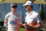 (L to R): Nico Hulkenberg, Sauber with Adrian Sutil, Sahara Force India F1