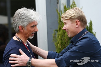 Damon Hill, Sky Sports Presenter with Mika Hakkinen