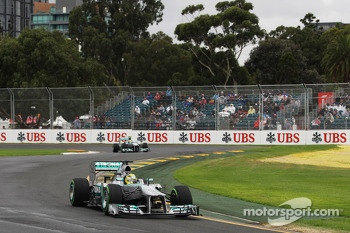 Nico Rosberg, Mercedes AMG F1 W04 leads team mate Lewis Hamilton, Mercedes AMG F1 W04