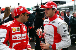 (L to R): Felipe Massa, Ferrari and Jules Bianchi, Marussia F1 Team on the drivers parade