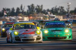#45 Flying Lizard Motorsports Porsche 911 GT3 Cup: Nelson Canache, Spencer Pumpelly, Brian Wong, #17 Team Falken Tire Porsche 911 GT3 RSR: Bryan Sellers, Wolf Henzler, Nick Tandy