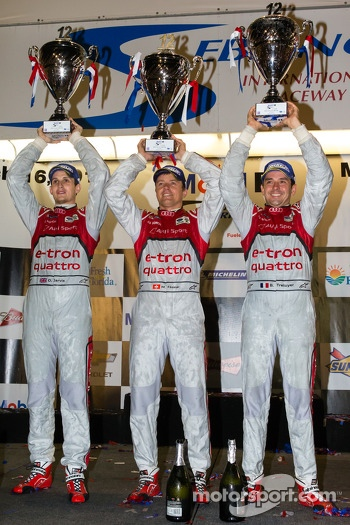 P1 podium: class and overall winner Marcel Fässler, Benoit Tréluyer, Oliver Jarvis