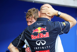 Adrian Newey, Red Bull Racing Chief Technical Officer and race winner Sebastian Vettel, Red Bull Racing in parc ferme