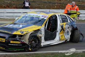 Rob Austin's battered Wix Racing Audi