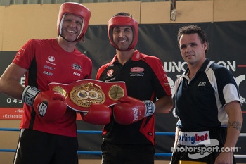 World Middleweight Boxing Champion Daniel Geale gives a few tips to drivers Garth Tander and Fabian Couthard
