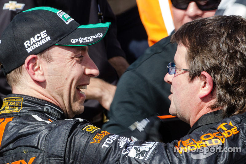 Victory lane: race winner Max Angelelli and Wayne Taylor