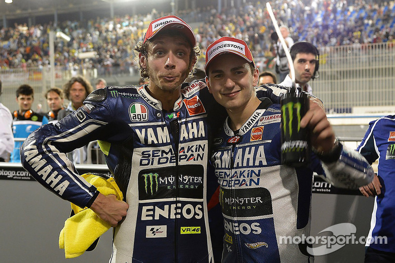Race winner Jorge Lorenzo, Yamaha Factory Racing, second place Valentino Rossi, Yamaha Factory Racing