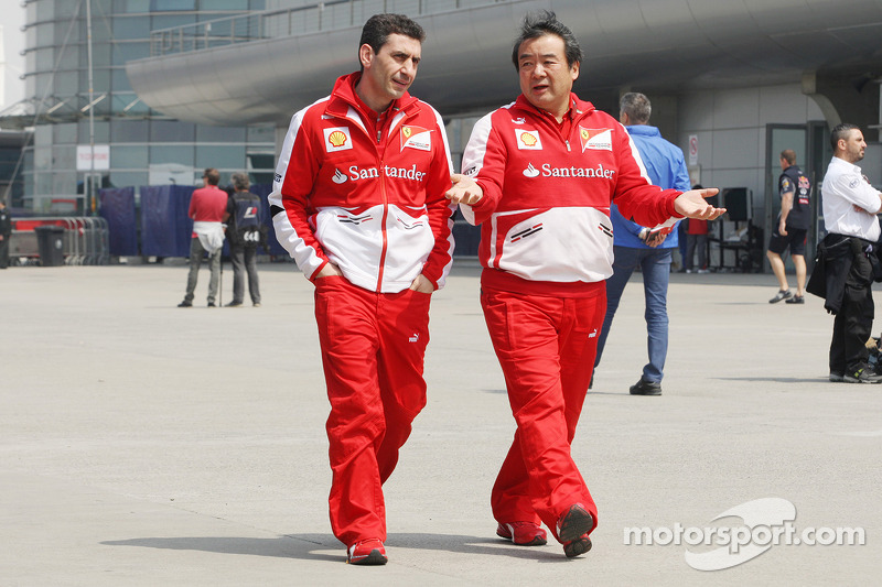Andrea Stella, Ferrari Race Engineer with Hirohide Hamashima, Ferrari Tyre Engineer