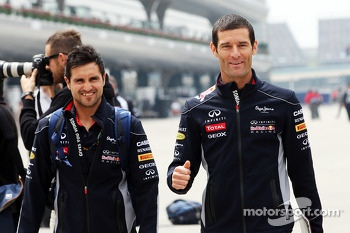 Mark Webber, Red Bull Racing with his personal trainer Richard Conner
