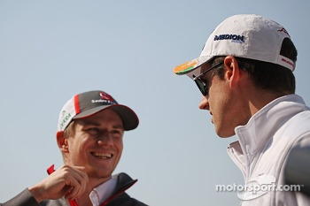 Nico Hulkenberg, Sauber with Adrian Sutil, Sahara Force India F1