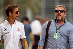 (L to R): Jenson Button, McLaren with Richard Goddard, Driver Manager