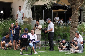 Will Buxton, NBS Sports Network TV Presenter with Sebastian Vettel, Red Bull Racing