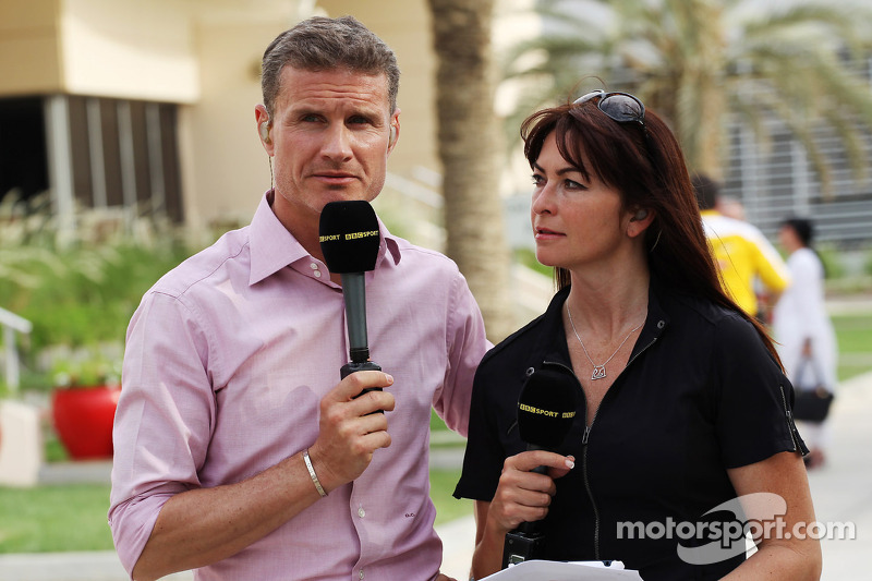 (L to R): David Coulthard, Red Bull Racing and Scuderia Toro Advisor / BBC Television Commentator with Suzi Perry, BBC F1 Presenter