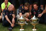 Adrian Newey, Red Bull Racing Chief Technical Officer with Sebastian Vettel, Red Bull Racing and Christian Horner, Red Bull Racing Team Principal