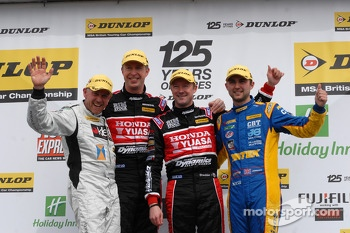 Round 4 podium 1st Gordon Shedden, 2nd Andrew Jordan, 3rd Matt Neal and JST winner James Kaye