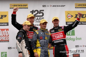 Round 6 podium 1st Colin Turkington, 2nd Gordon Shedden, 3rd Matt Neal and JST winner Joe Girling