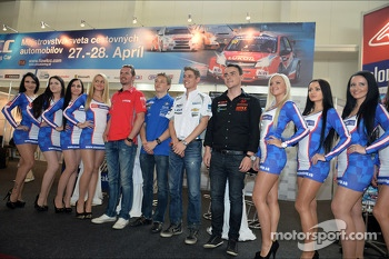 Press conference in Bratislava, James Thompson Lada Granta, LADA Sport Lukoil, Matej Homola BMW 320si, Homola Motorsport,James Nash Chevrolet Cruze 1.6 T, Bamboo Engineering and Norbert Michelisz Honda Civic, Zengo Motorsport