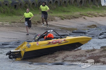 Jonathon Webb tries out jet boat racing