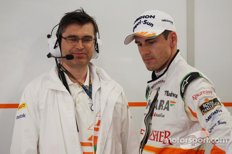 Adrian Sutil, Sahara Force India F1 with Bradley Joyce, Sahara Force India F1 Race Engineer
