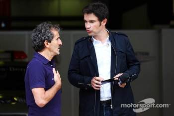 Alain Prost, with Thomas Senecal, Canal+ F1 Chief Editor and TV Presenter