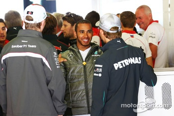 Lewis Hamilton, Mercedes AMG F1 with team mate Nico Rosberg, Mercedes AMG F1