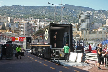 Lotus F1 Team truck in the pits