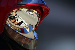 Nico Rosberg, Mercedes AMG F1 W04 reflected from a fireman's helmet visor