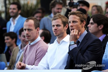 Jenson Button, McLaren with Mike Collier, Personal Trainer, at the Amber Lounge Fashion Show