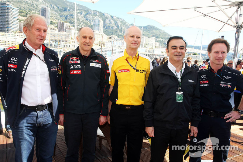 (L to R): Dr Helmut Marko, Red Bull Motorsport Consultant with Franz Tost, Scuderia Toro Rosso Team Principal; Carlos Ghosn, Chairman of Renault and Christian Horner, Red Bull Racing Team Principal