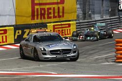 Nico Rosberg, Mercedes AMG F1 W04 leads behind the Safety Car