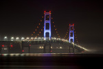 The Mackinac Bridge is lit up in blue to promote the Michigan International Speedway and Michigan native Brad Keselowski
