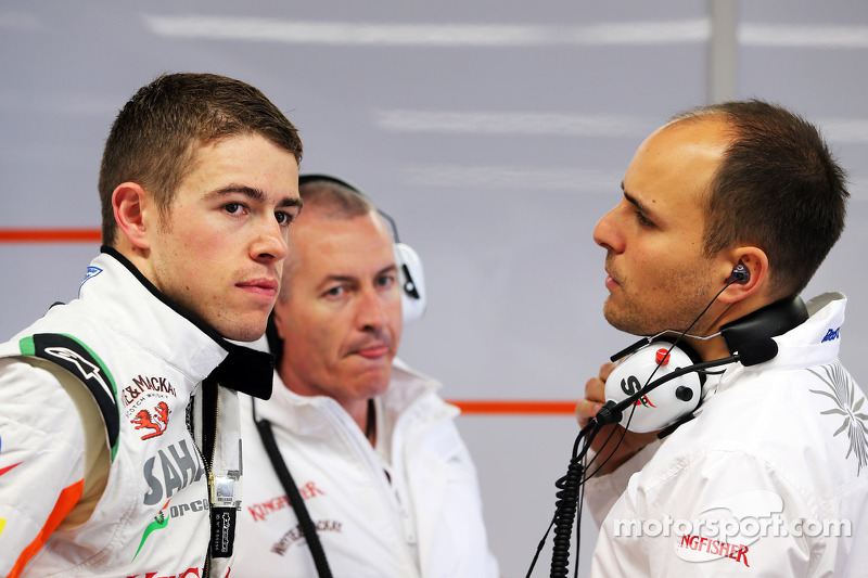 (L to R): Paul di Resta, Sahara Force India F1 with Gerry Convy, Personal Trainer and Gianpiero Lambiase, Sahara Force India F1 Engineer