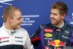 Valtteri Bottas, Williams F1 Team and Sebastian Vettel, Red Bull Racing
