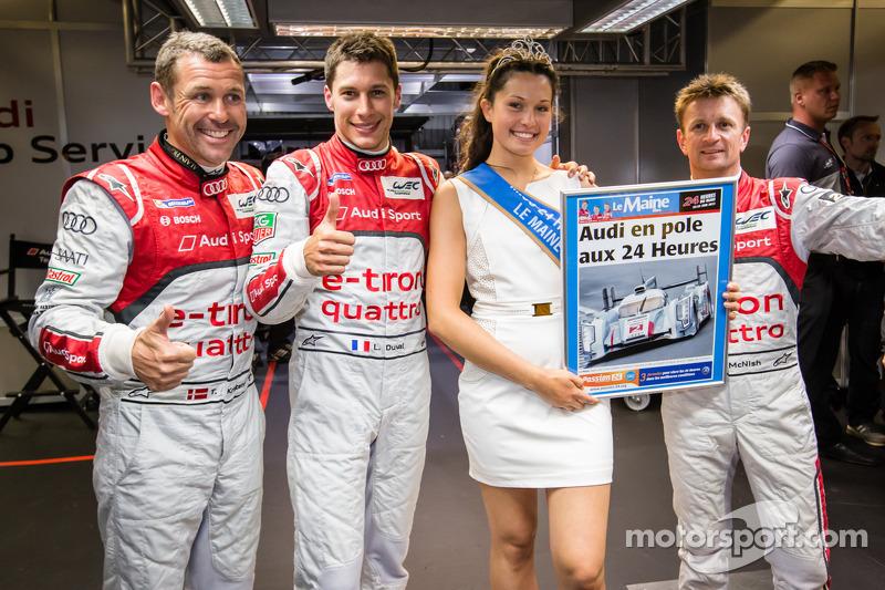 Pole winner Loic Duval with teammates Tom Kristensen, Allan McNish and Miss Le Mans 2013
